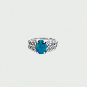 Platinum Black Opal & Diamond Ring 1.05cts 0.30cts