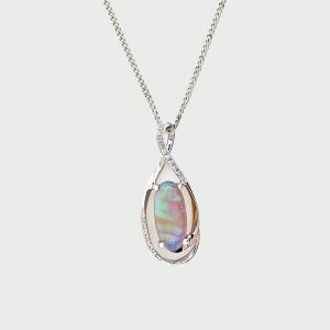 14K W/G Black Opal & Diamond Pendant 3.20cts 17RD=0.07cts