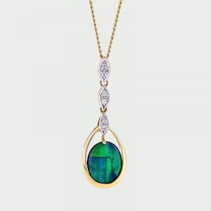 18K Y&W/G Black Opal & Diamond Pendant 1.58cts 6RD=0.06cts