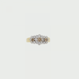 18K Y&W/G Champagne & White Diamond Ring C5 SI 3RD=0.29cts  H SI 18RD=0.42cts