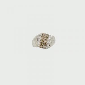Platinum Champagne & White Diamond Ring C6 SI H SI 0.10cts