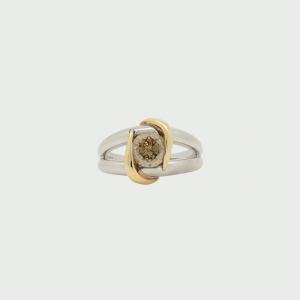 Platinum & 18K Y/G Champagne Diamond Ring C3 SI 1.172cts