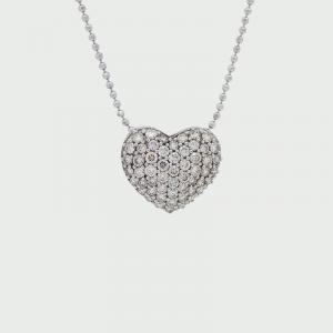 18K W/G Champagne & White Diamond Pendant C1 VS-SI 55RD=1.10cts + 18K White Gold Chain