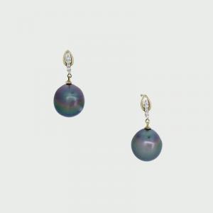 18 W/G Black South Sea Pearl & Diamond Earrings 12mm 0.10cts