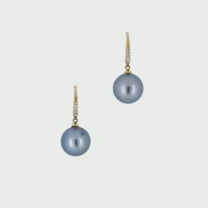 18K Y/G Black South Sea Pearl & Diamond Earrings 12mm 0.08cts