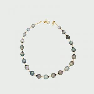 18K Y/G Black South Sea Pearl Necklace 8.5-10mm 21pcs